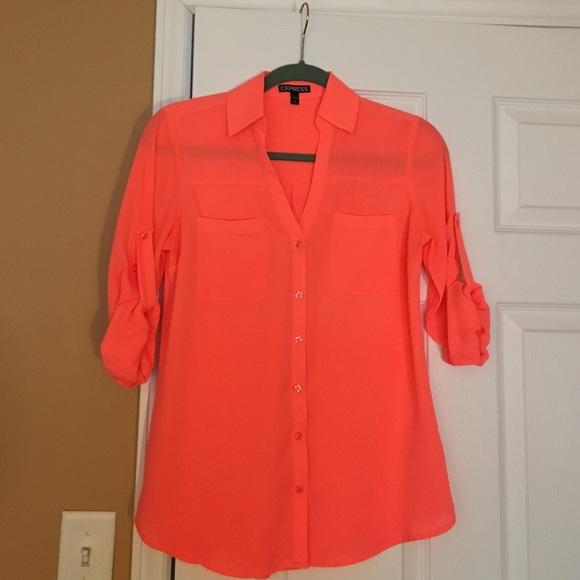 27c74cb66b1f Express Tops - Express Neon Orange Portofino Shirt