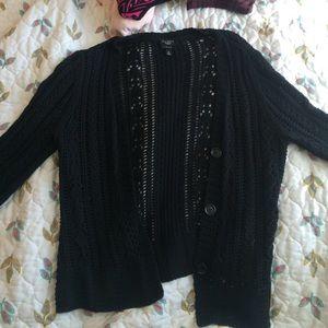 Talbots black crochet cardigan