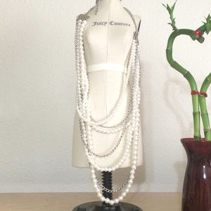 Long bead and chain statement necklace.