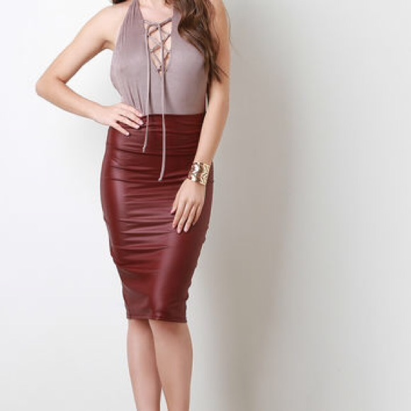 new superior quality luxury fashion Maroon Faux Leather Pencil Skirt NWT