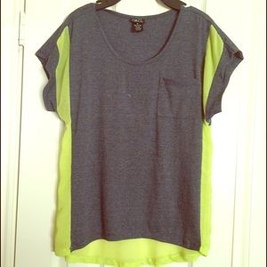 Sheer color block tee.
