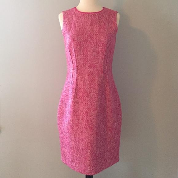 839b66e1 T TAHARI Pink Tweed Sheath Dress. M_56f80539620ff7561a003ec9