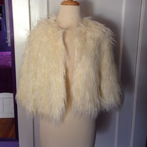 Fabulous Furs Jackets & Blazers - Cream Faux Fur Crop Jacket