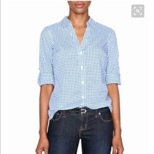The Limited Tops - Limited blue gingham 3/4 sleeve blouse. Size m.