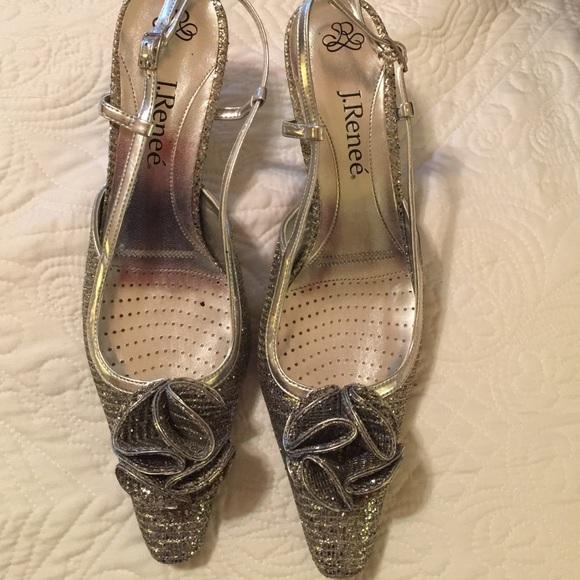 3e74fb81a55 J.Renee Shoes - J. Renee silver sling back heels.