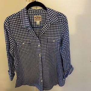 Old Navy Tops - Old Navy size M blue gingham top.