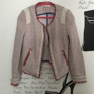 Zara woven jacket w/neon thread faux leather trim