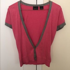 Sweaters - Pink cardigan, unique 3 button, size small