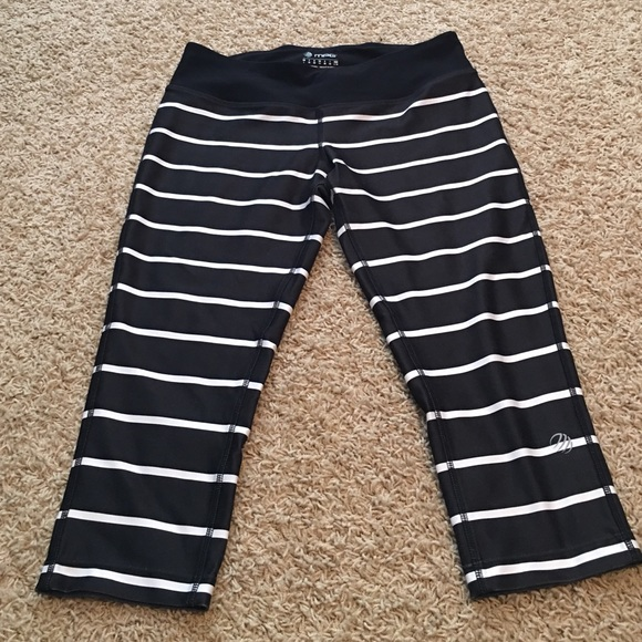52% off Mpg Pants - Black and white stripe workout capris from ...