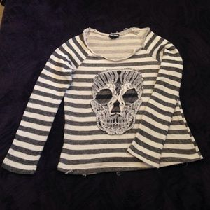 Stripped Skull Detailed Sweater