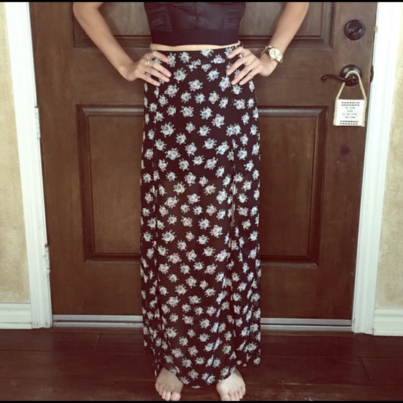 h m h m floral high waisted maxi skirt from s