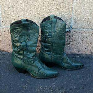 Laredo  Shoes - Vintage Green Laredo Leather Cowboy Boots