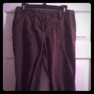 Old Navy Cropped Linen Cargo Pants Size 6