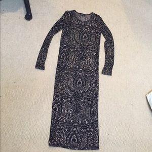 Long sleeve black and nude midi dress