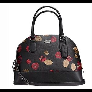 Coach Black Floral Cora Domed Satchel NWT