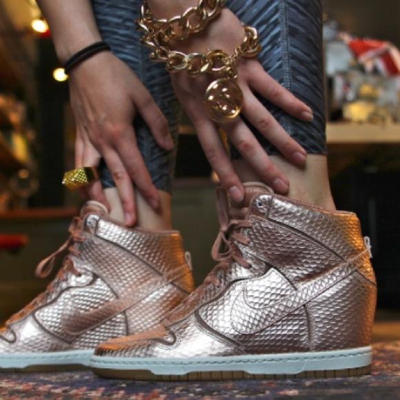 nike dunk sky hi metallic bronze sneakers