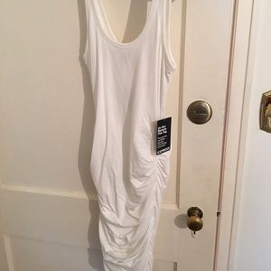 White Ruched Tank Dress