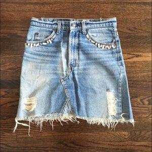 Frayed jean skirt