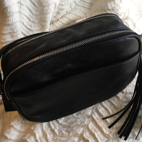 Faux Leather and Suede Double Zipper Crossbody