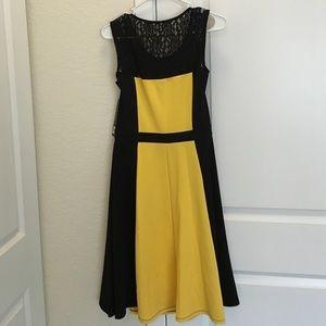 Ile New York Dresses Black Yellow Laceyoke Fit Flare