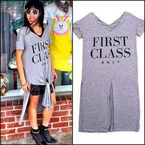 HAPPINESS Brand Gray First Class Shirt Tie Dress