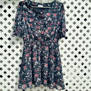 Dresses & Skirts - Spring Rose Floral Button Up Sheer Pin Up Dress
