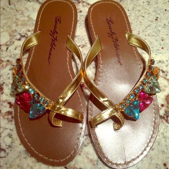 manchester great sale cheap price cheap sale 100% guaranteed Beverly Feldman Embellished Slide Sandals discount popular clearance the cheapest kjUP8njoB