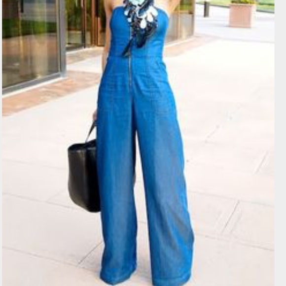 93391f9f8048 RACHEL ROY wide leg denim jumpsuit. M 56f87fb35c12f8c38c088030