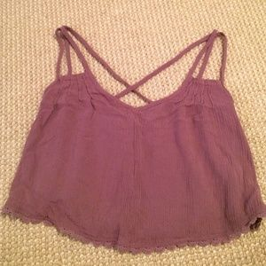 Light maroon tank top with strappy back