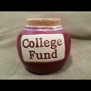 "Pottery ""College Fund"" savings jar"