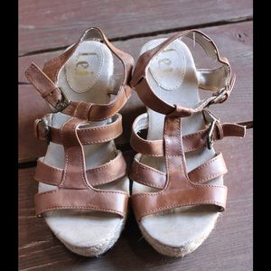 lei Shoes - Brown Wedge Sandals