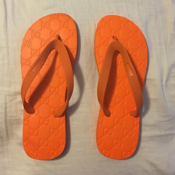 c2af090f6 Gucci Shoes - Orange Gucci Flip Flops