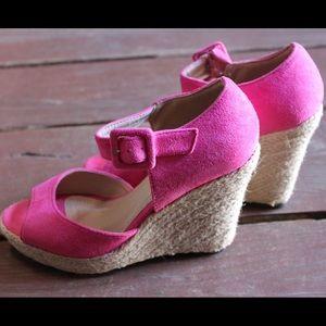 Lady Godiva Shoes - Fuchsia Ankle-Strap Wedges