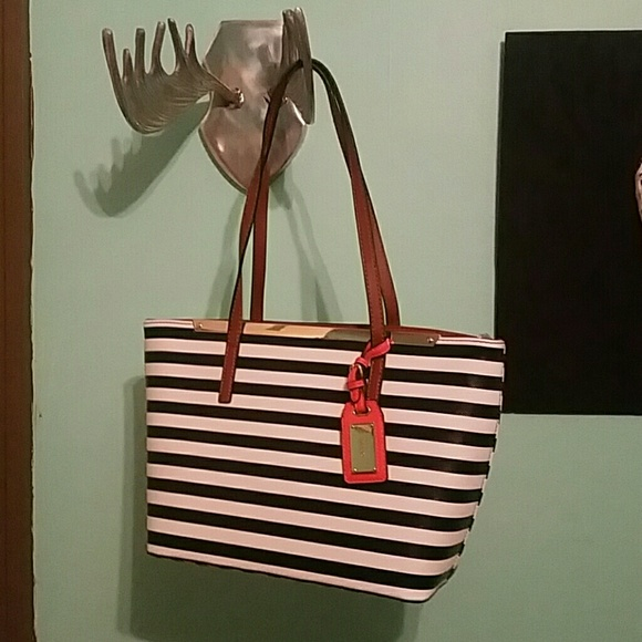 eed07d3f9749 Navy and white striped ALDO purse