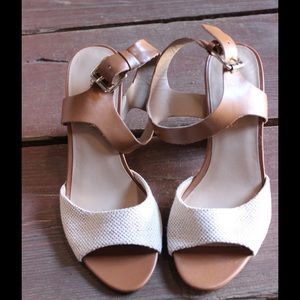 Sole Society Shoes - White and Brown Ankle-Strap Heels