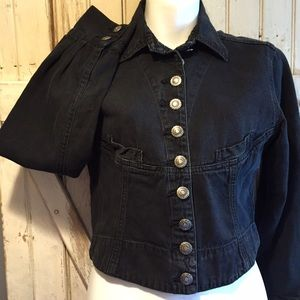 Vintage cropped black denim jacket S
