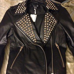 Lambskin studded Moto jacket