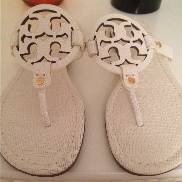 Tory Burch White Miller Sandals