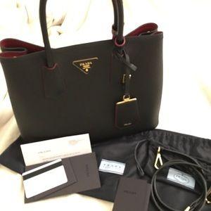 prada small shoulder bag - Prada - Prada double bag small (black/red) from Jasmine's closet ...