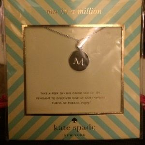 Kate Spade one in a million 'M' necklace, silver.