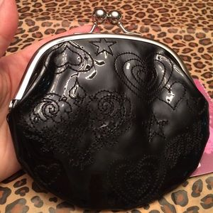 Heart Stitching on Patent Coin Purse