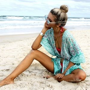 Sale | NEW Aqua Peacock Beach Kimono