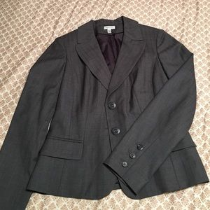 Gray with gray pin stripped suit jacket