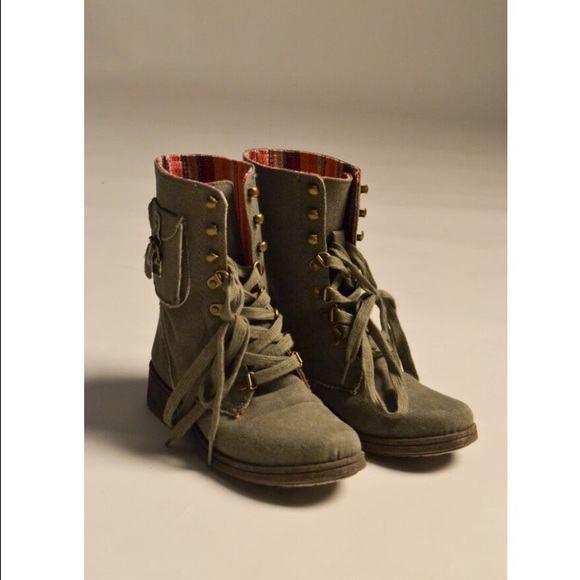 48% off Shoes - Army green combat boots from Charlotte Russe from
