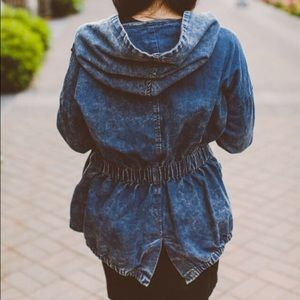 Boutique Jackets & Blazers - NWT Denim Trench Coat with Hoodie
