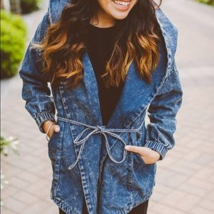 NWT Denim Trench Coat with Hoodie