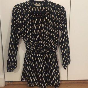 3/4 sleeve romper/jumper in black and beige