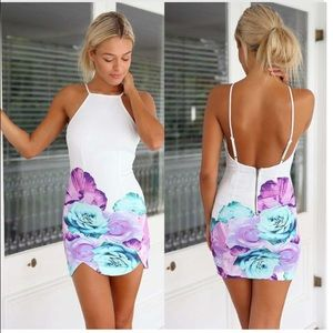 Flower Print Body Con Dress