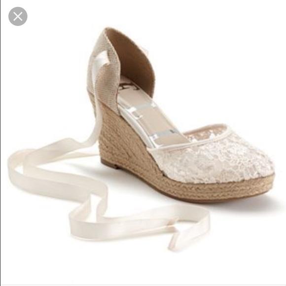 bcabaa3f6c044d Elle Shoes - Elle Lace Ankle-Tie Wedges