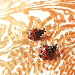 Jewelry - NWT red and black lady bug earrings